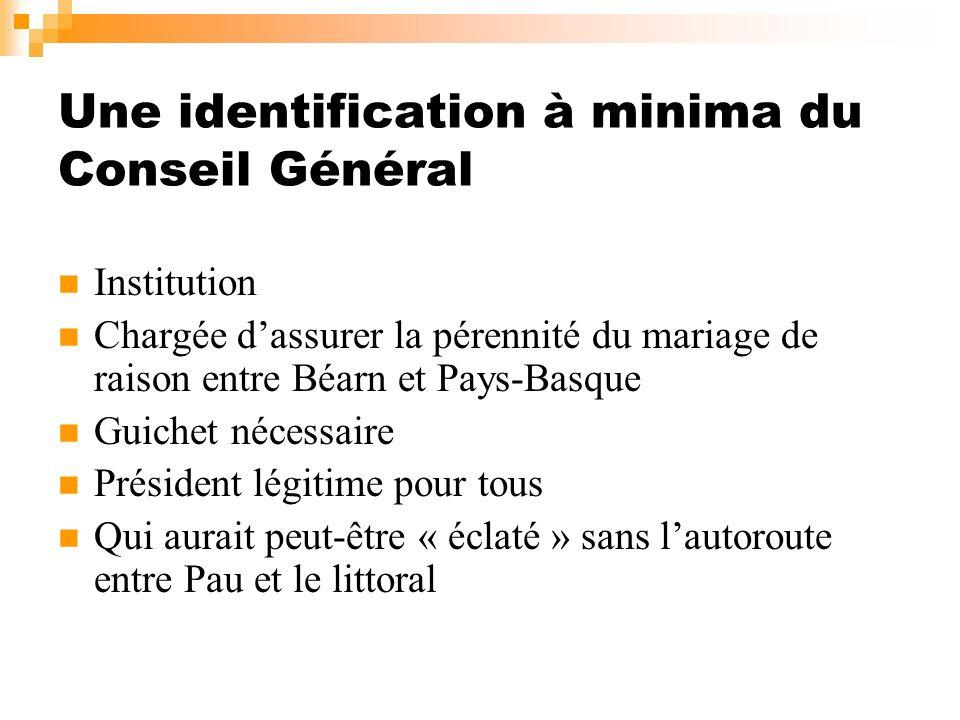 Une identification à minima du Conseil Général Institution Chargée dassurer la pérennité du mariage de raison entre Béarn et Pays-Basque Guichet néces