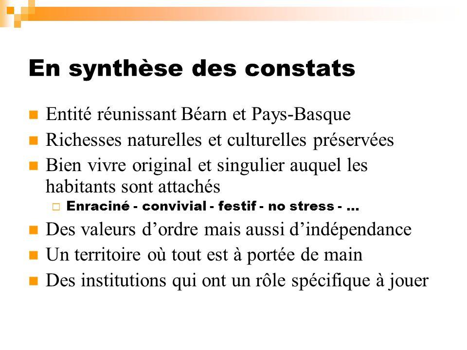 En synthèse des constats Entité réunissant Béarn et Pays-Basque Richesses naturelles et culturelles préservées Bien vivre original et singulier auquel