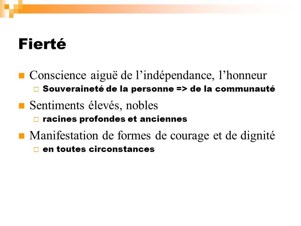 Fierté Conscience aiguë de lindépendance, lhonneur Souveraineté de la personne => de la communauté Sentiments élevés, nobles racines profondes et anci