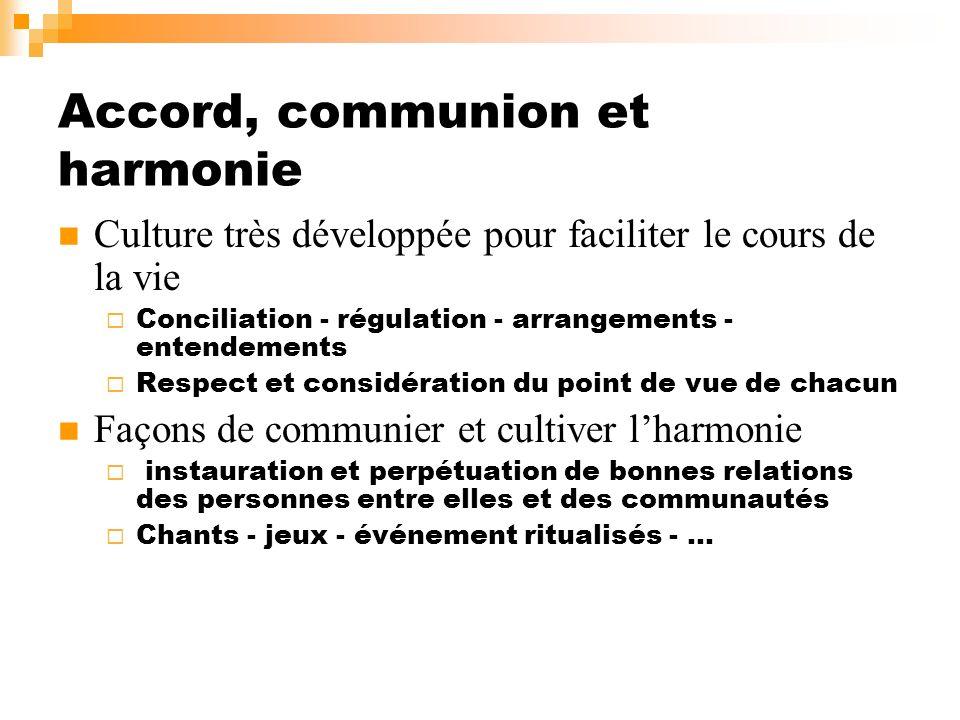 Accord, communion et harmonie Culture très développée pour faciliter le cours de la vie Conciliation - régulation - arrangements - entendements Respec