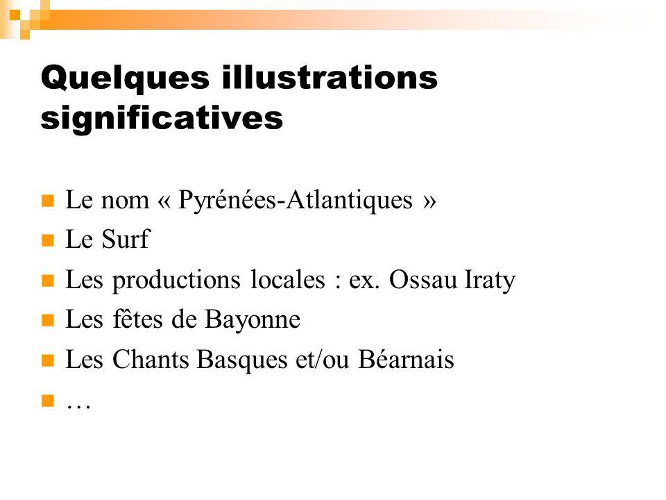 Quelques illustrations significatives Le nom « Pyrénées-Atlantiques » Le Surf Les productions locales : ex. Ossau Iraty Les fêtes de Bayonne Les Chant