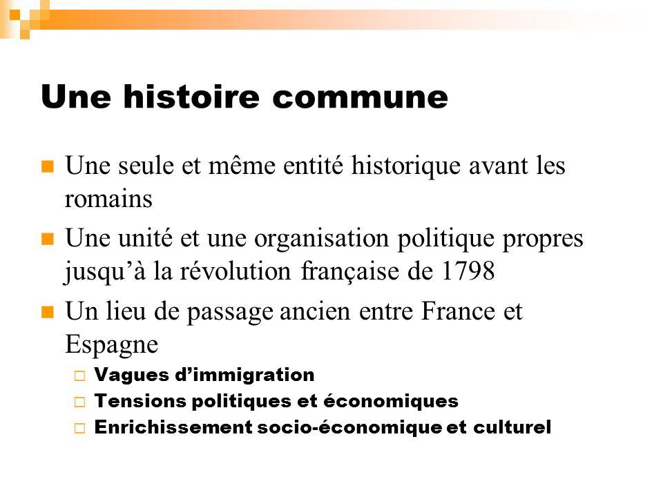 Une histoire commune Une seule et même entité historique avant les romains Une unité et une organisation politique propres jusquà la révolution frança