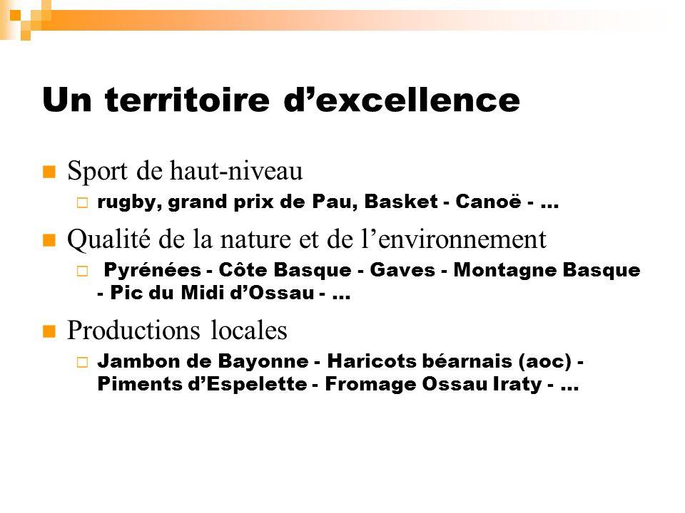 Un territoire dexcellence Sport de haut-niveau rugby, grand prix de Pau, Basket - Canoë - … Qualité de la nature et de lenvironnement Pyrénées - Côte