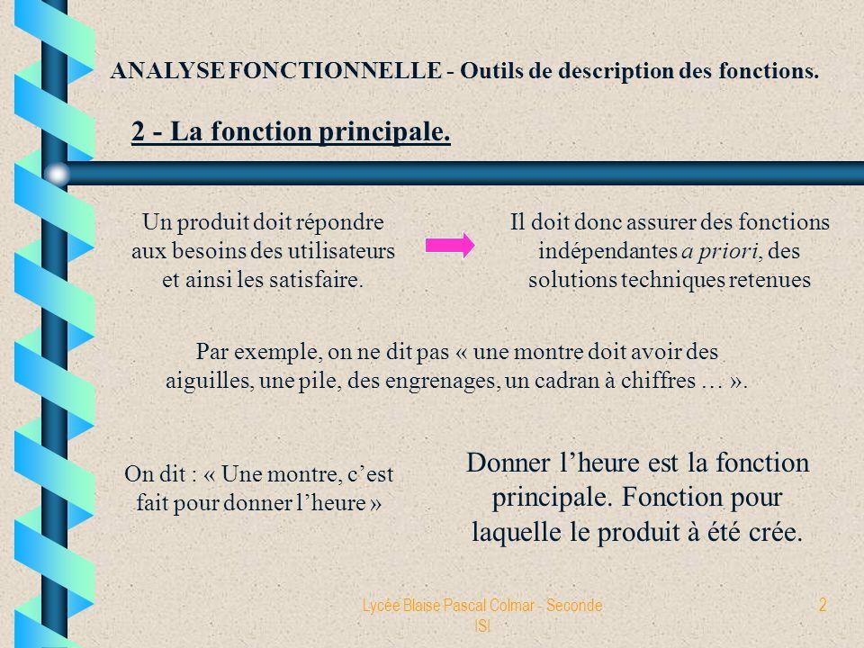 Lycée Blaise Pascal Colmar - Seconde ISI 2 ANALYSE FONCTIONNELLE - Outils de description des fonctions. 2 - La fonction principale. Un produit doit ré