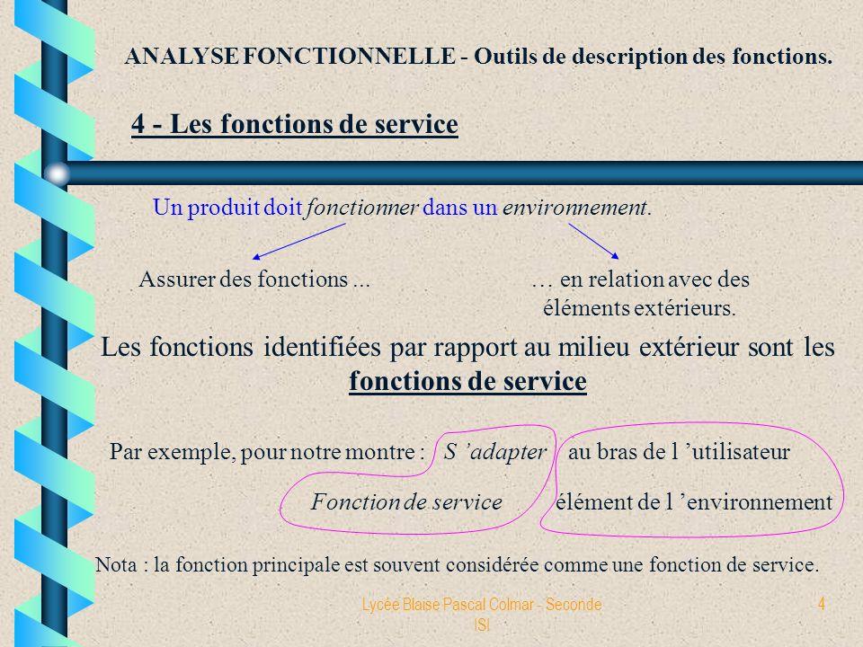 Lycée Blaise Pascal Colmar - Seconde ISI 4 ANALYSE FONCTIONNELLE - Outils de description des fonctions. 4 - Les fonctions de service Un produit doit f