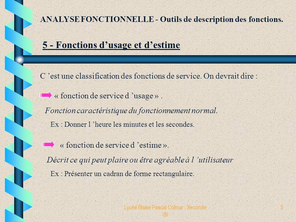 Lycée Blaise Pascal Colmar - Seconde ISI 5 ANALYSE FONCTIONNELLE - Outils de description des fonctions. 5 - Fonctions dusage et destime C est une clas