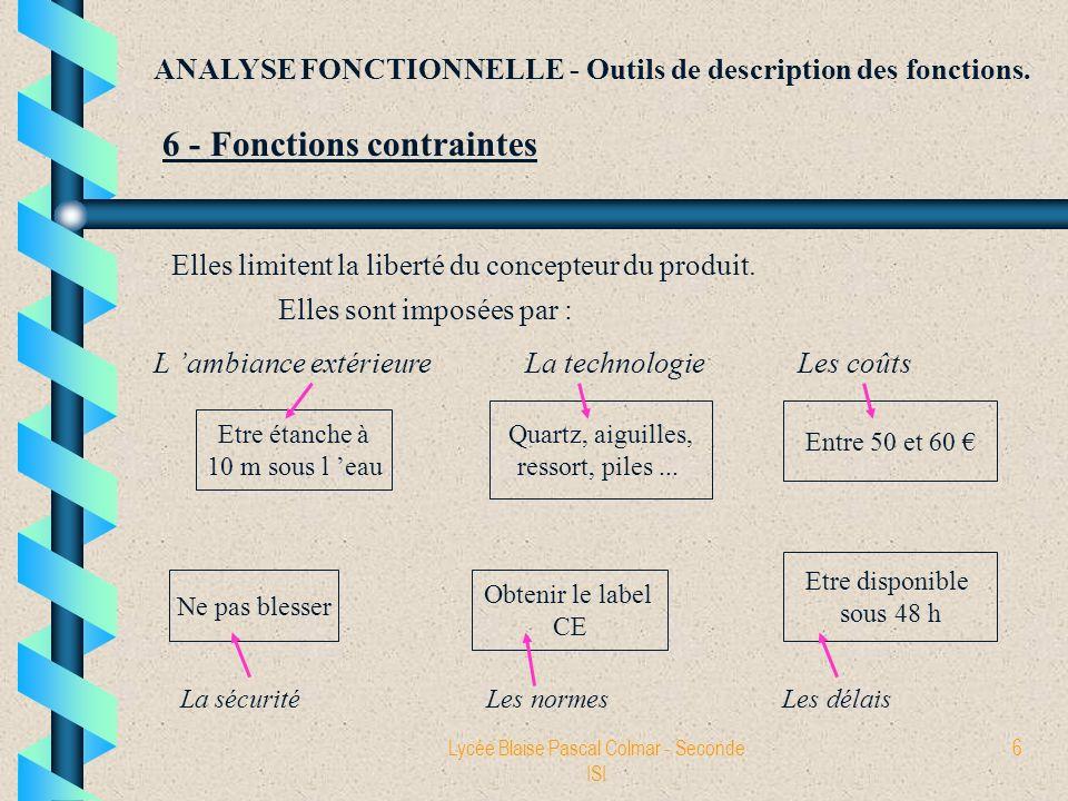 Lycée Blaise Pascal Colmar - Seconde ISI 6 ANALYSE FONCTIONNELLE - Outils de description des fonctions. 6 - Fonctions contraintes Elles limitent la li