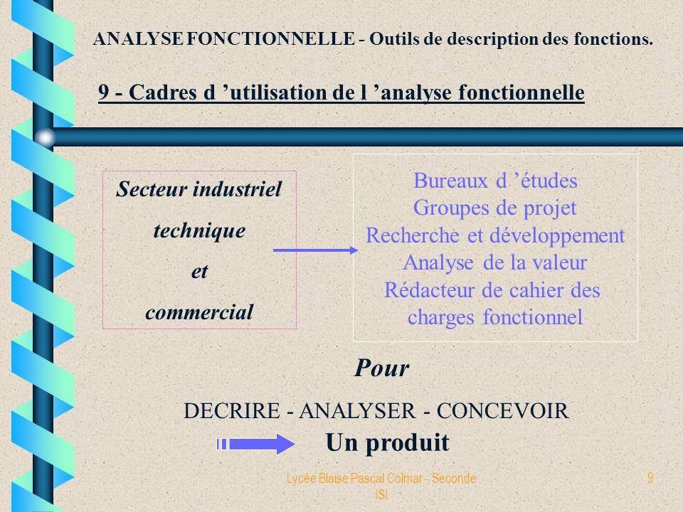 Lycée Blaise Pascal Colmar - Seconde ISI 9 ANALYSE FONCTIONNELLE - Outils de description des fonctions. 9 - Cadres d utilisation de l analyse fonction