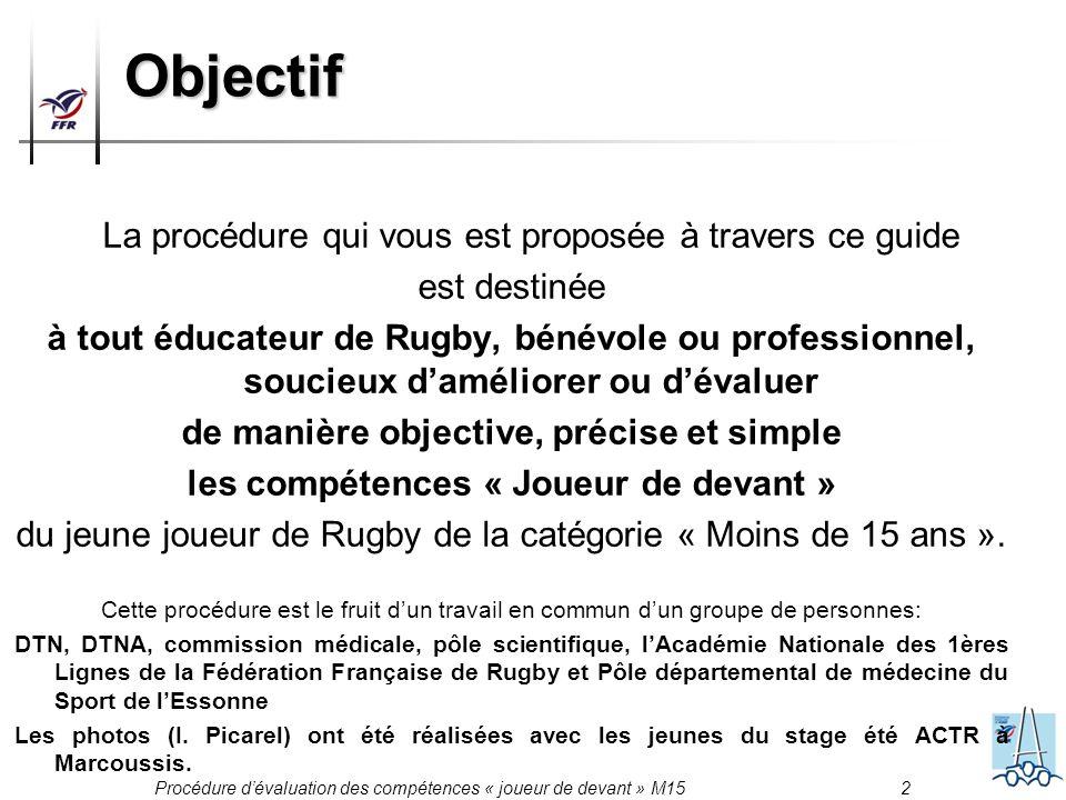 Procédure dévaluation des compétences « joueur de devant » M15 2 Objectif La procédure qui vous est proposée à travers ce guide est destinée à tout éd