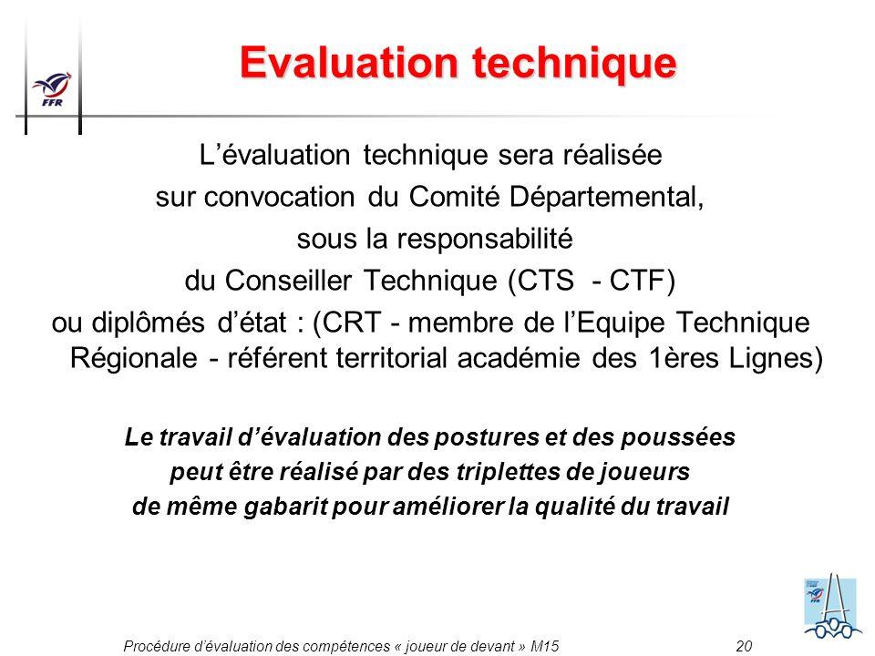 Procédure dévaluation des compétences « joueur de devant » M15 20 Evaluation technique Lévaluation technique sera réalisée sur convocation du Comité D