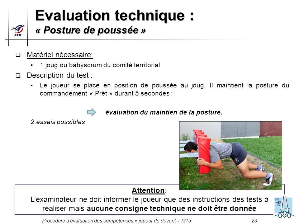 Procédure dévaluation des compétences « joueur de devant » M15 23 Matériel nécessaire: 1 joug ou babyscrum du comité territorial Description du test :