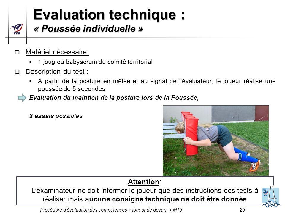 Procédure dévaluation des compétences « joueur de devant » M15 26 Evaluation technique : « Poussée individuelle »