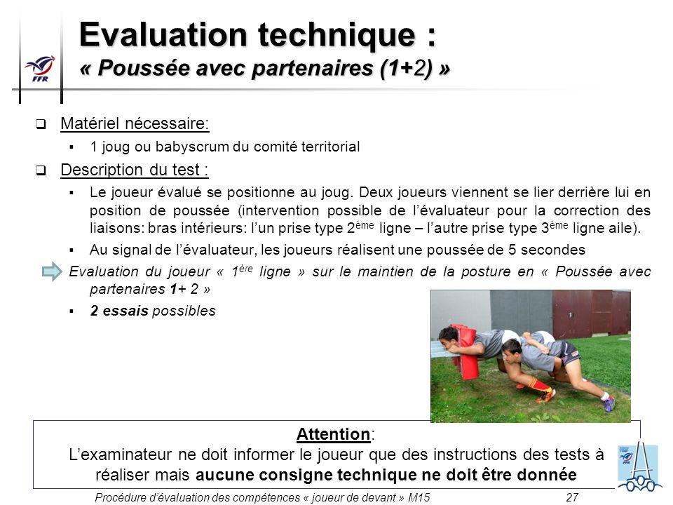 Procédure dévaluation des compétences « joueur de devant » M15 27 Matériel nécessaire: 1 joug ou babyscrum du comité territorial Description du test :