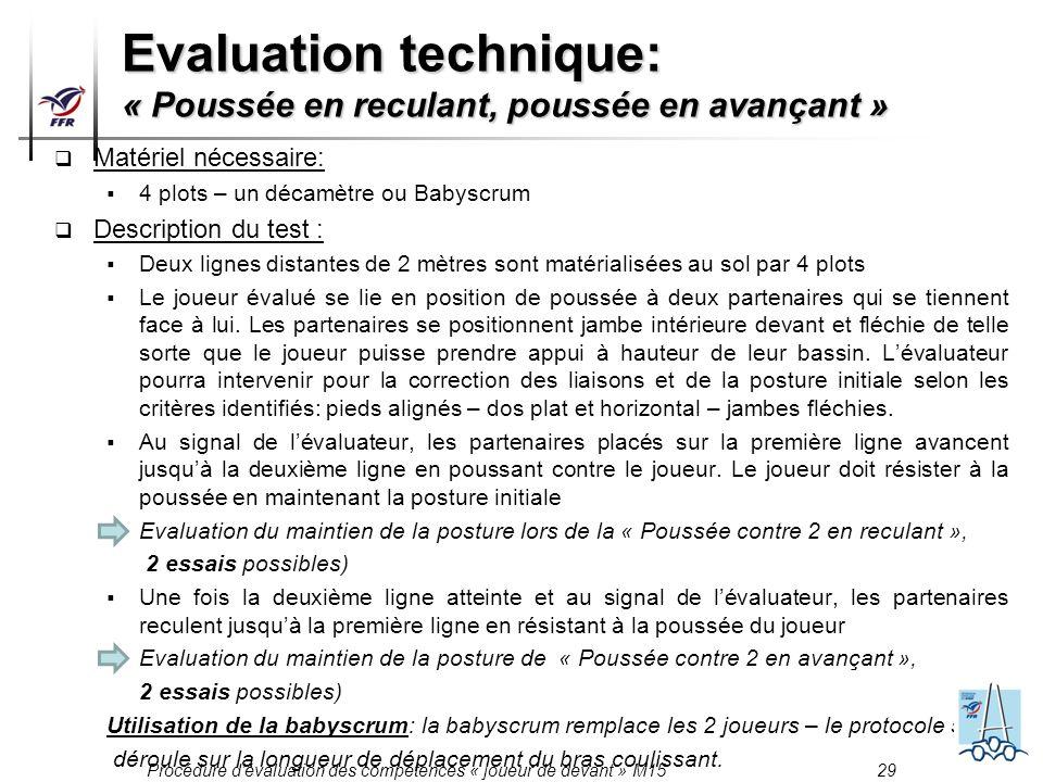 Procédure dévaluation des compétences « joueur de devant » M15 29 Matériel nécessaire: 4 plots – un décamètre ou Babyscrum Description du test : Deux