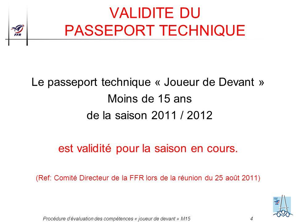 Procédure dévaluation des compétences « joueur de devant » M15 4 VALIDITE DU PASSEPORT TECHNIQUE Le passeport technique « Joueur de Devant » Moins de