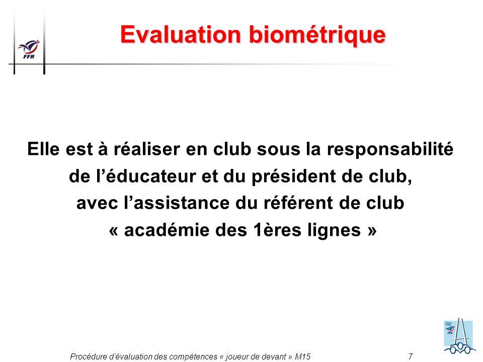 Procédure dévaluation des compétences « joueur de devant » M15 7 Evaluation biométrique Elle est à réaliser en club sous la responsabilité de léducate