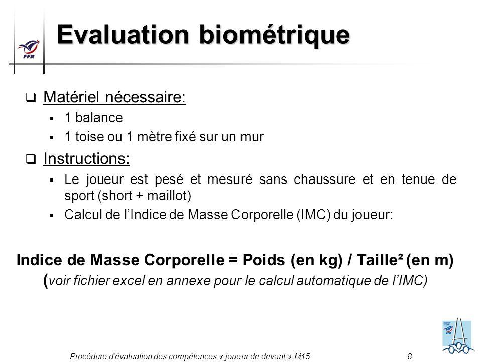Procédure dévaluation des compétences « joueur de devant » M15 8 Evaluation biométrique Matériel nécessaire: 1 balance 1 toise ou 1 mètre fixé sur un