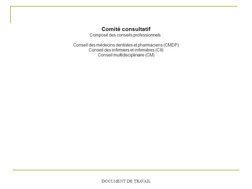 Comité consultatif Composé des conseils professionnels : Conseil des médecins dentistes et pharmaciens (CMDP) Conseil des infirmiers et infirmières (C