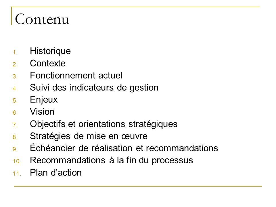 Contenu 1. Historique 2. Contexte 3. Fonctionnement actuel 4. Suivi des indicateurs de gestion 5. Enjeux 6. Vision 7. Objectifs et orientations straté