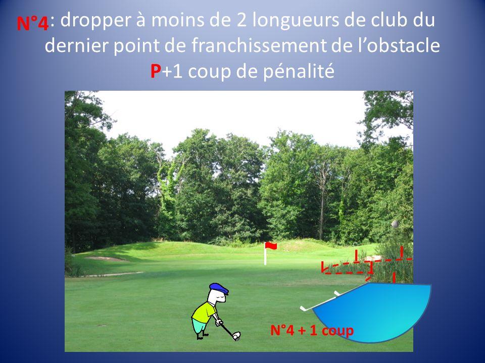 : dropper à moins de 2 longueurs de club du dernier point de franchissement de lobstacle P+1 coup de pénalité N°4 P N°4 + 1 coup