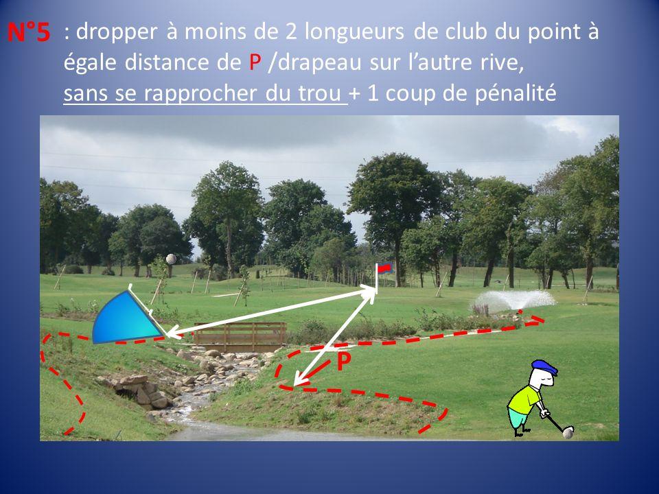 : dropper à moins de 2 longueurs de club du point à égale distance de P /drapeau sur lautre rive, sans se rapprocher du trou + 1 coup de pénalité N°5 P