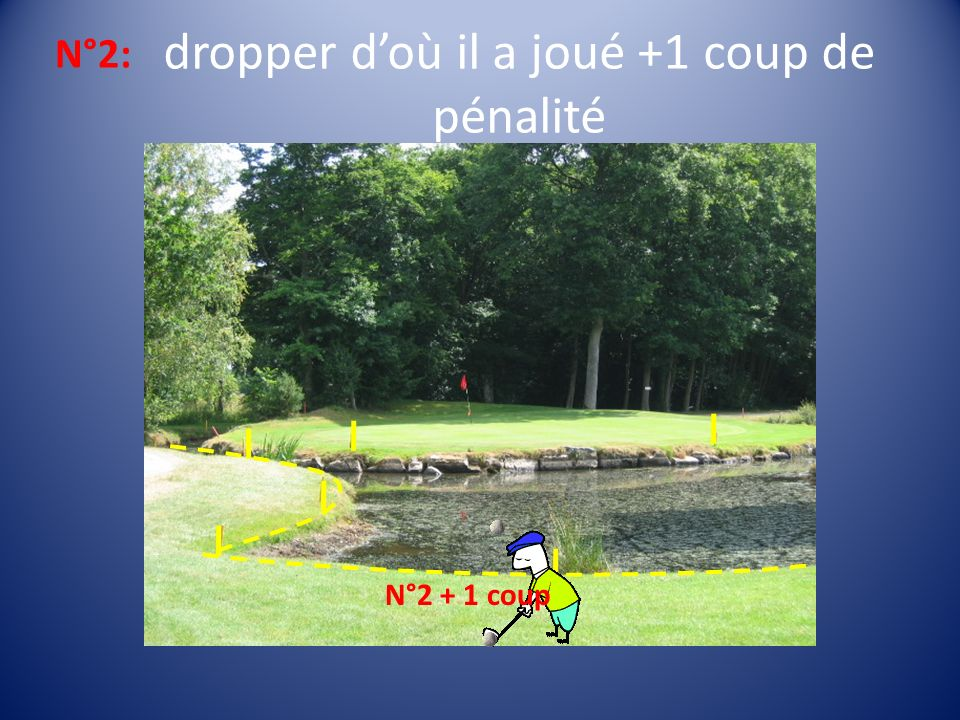 dropper doù il a joué +1 coup de pénalité N°2 + 1 coup N°2: