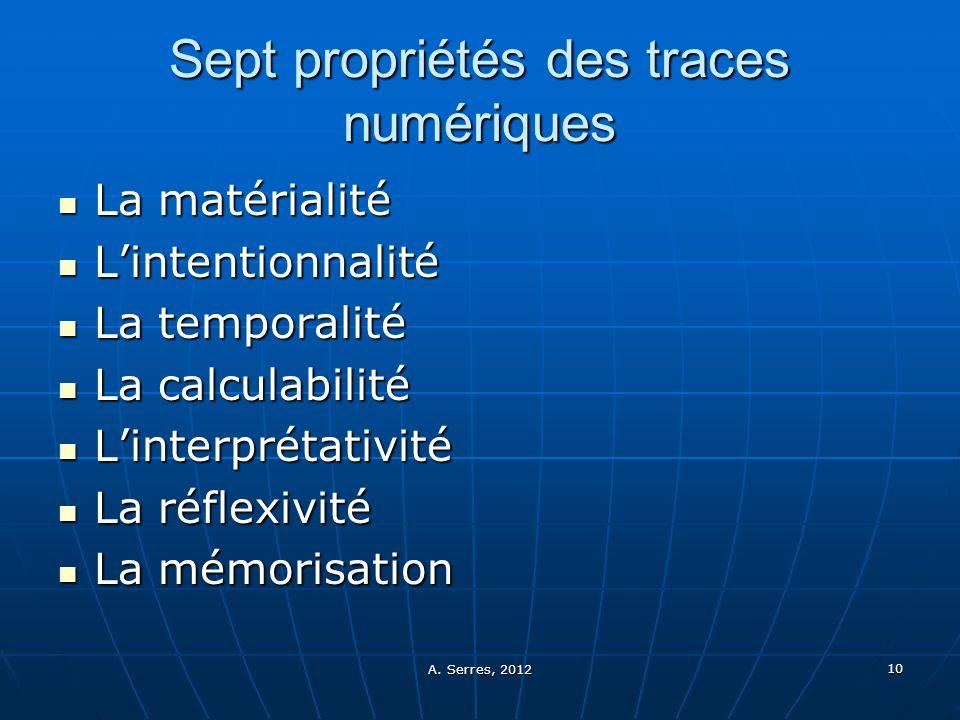 A. Serres, 2012 10 Sept propriétés des traces numériques La matérialité La matérialité Lintentionnalité Lintentionnalité La temporalité La temporalité