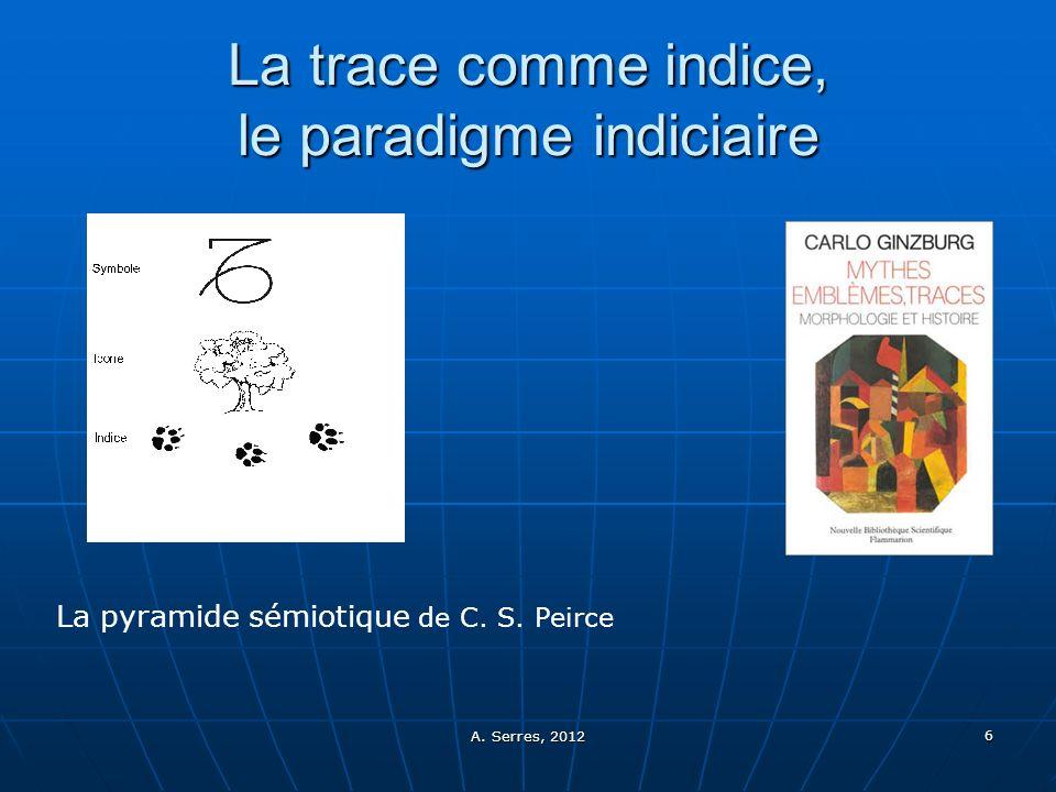 A. Serres, 2012 6 La trace comme indice, le paradigme indiciaire La pyramide sémiotique de C. S. Peirce