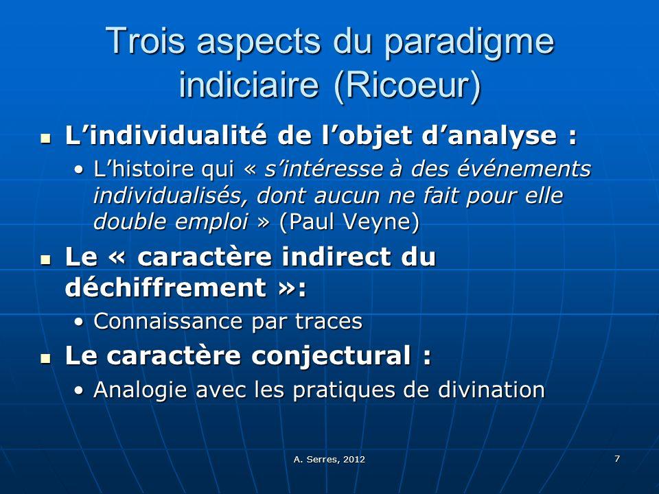 A. Serres, 2012 7 Trois aspects du paradigme indiciaire (Ricoeur) Lindividualité de lobjet danalyse : Lindividualité de lobjet danalyse : Lhistoire qu