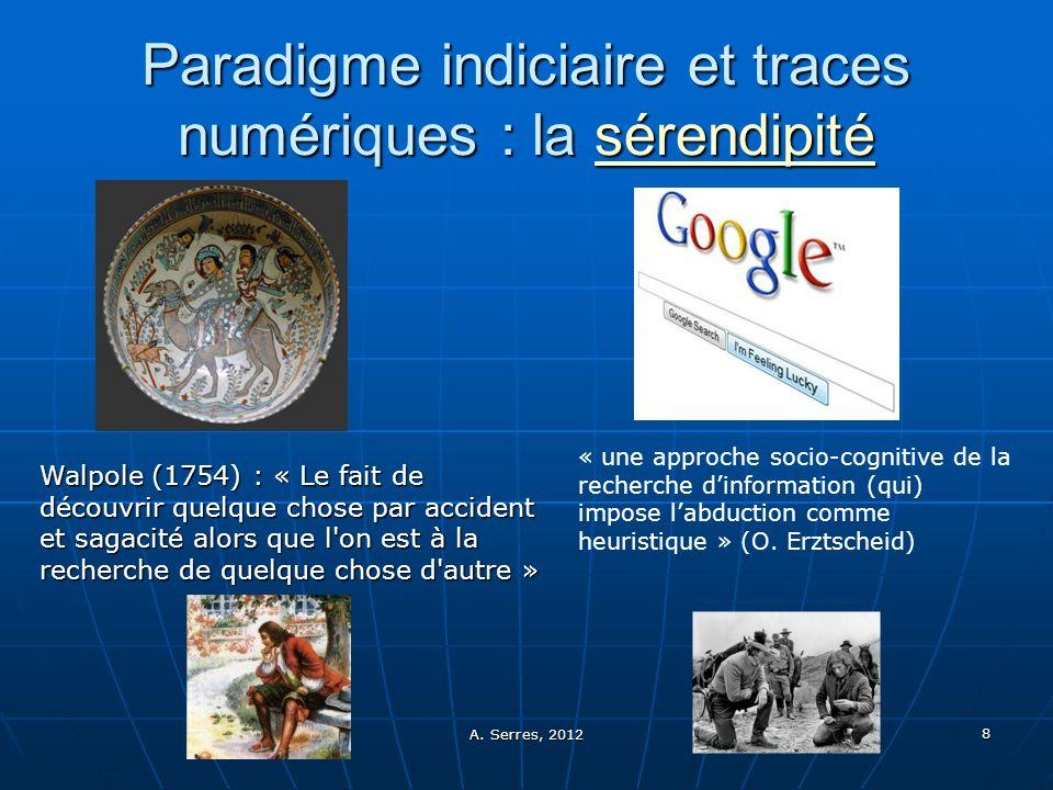 A. Serres, 2012 8 Paradigme indiciaire et traces numériques : la sérendipité sérendipité « une approche socio-cognitive de la recherche dinformation (