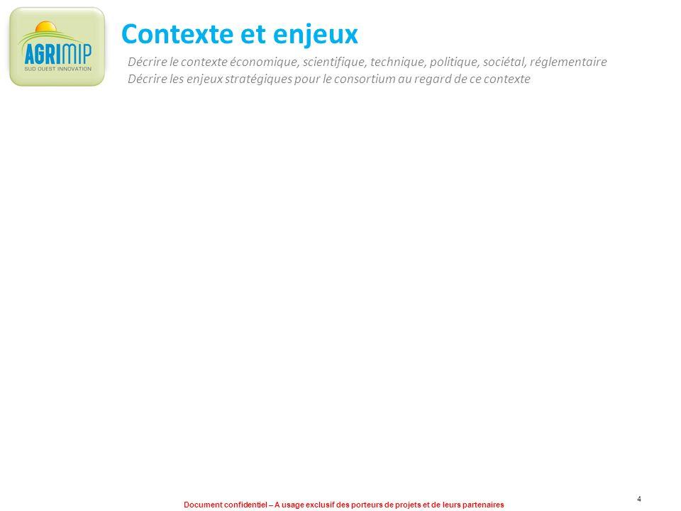 Document confidentiel – A usage exclusif des porteurs de projets et de leurs partenaires 4 Contexte et enjeux Décrire le contexte économique, scientif