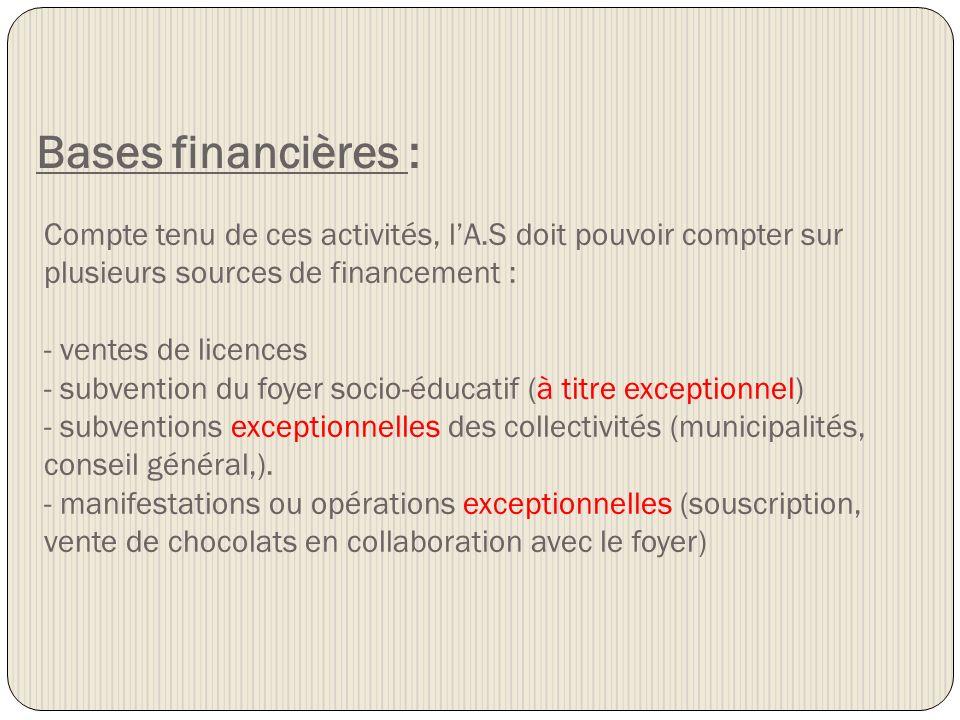 Bases financières : Compte tenu de ces activités, lA.S doit pouvoir compter sur plusieurs sources de financement : - ventes de licences - subvention d