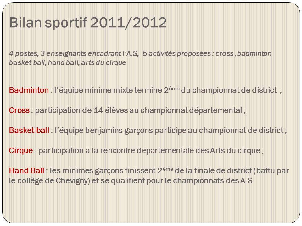 Bilan sportif 2011/2012 4 postes, 3 enseignants encadrant lA.S, 5 activités proposées : cross,badminton basket-ball, hand ball, arts du cirque Badmint
