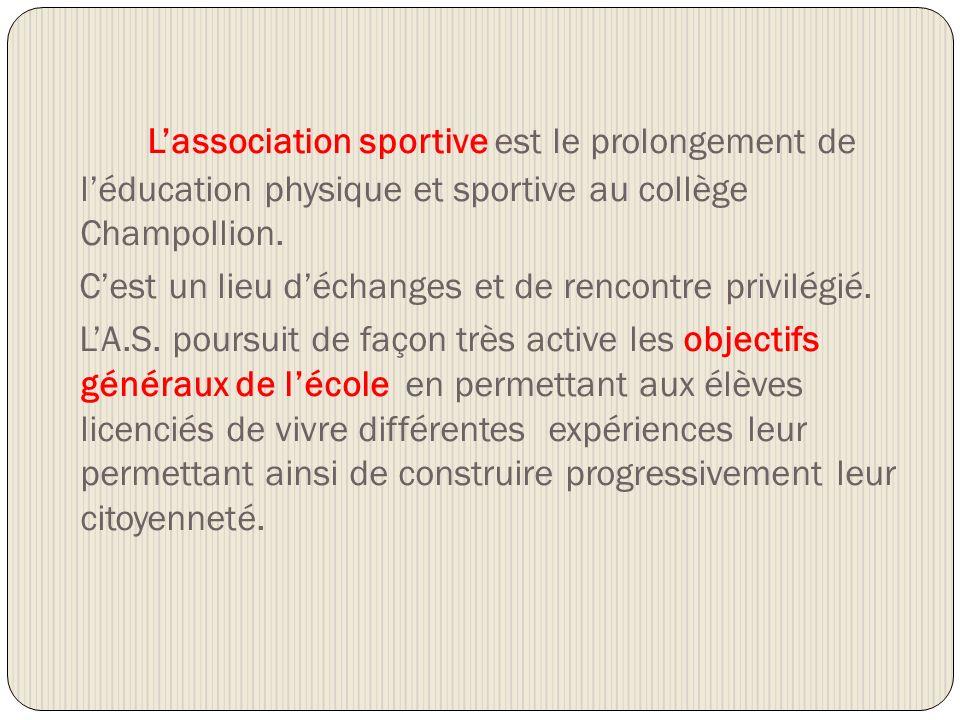 Lassociation sportive est le prolongement de léducation physique et sportive au collège Champollion. Cest un lieu déchanges et de rencontre privilégié