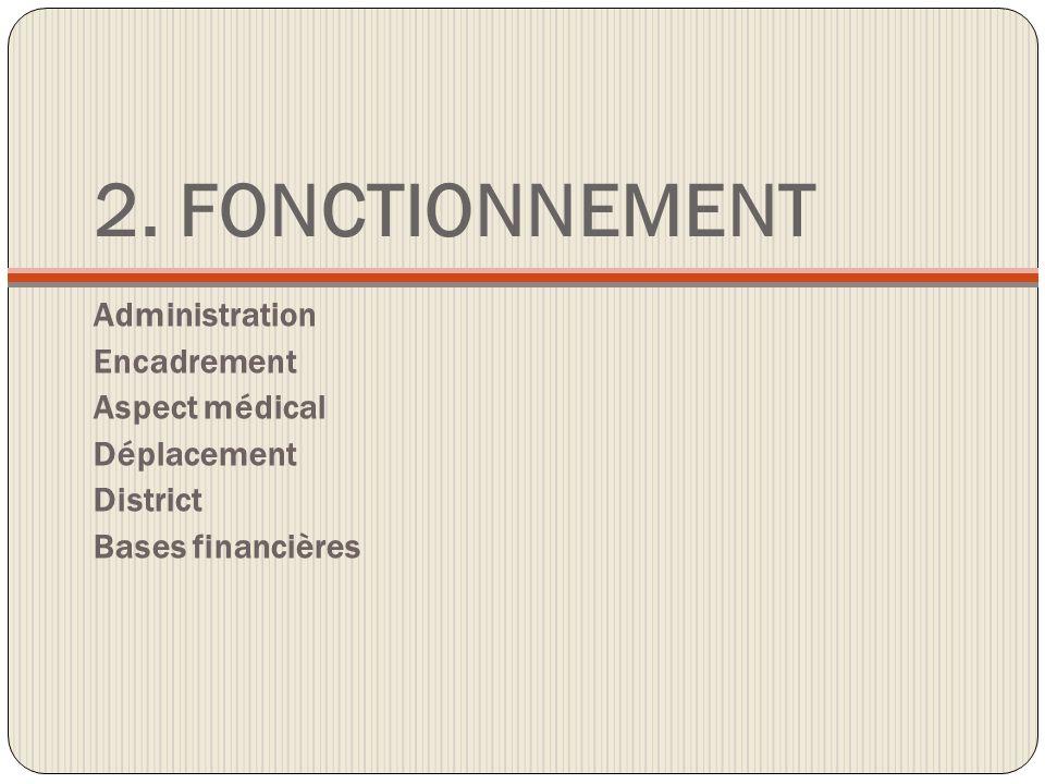 2. FONCTIONNEMENT Administration Encadrement Aspect médical Déplacement District Bases financières
