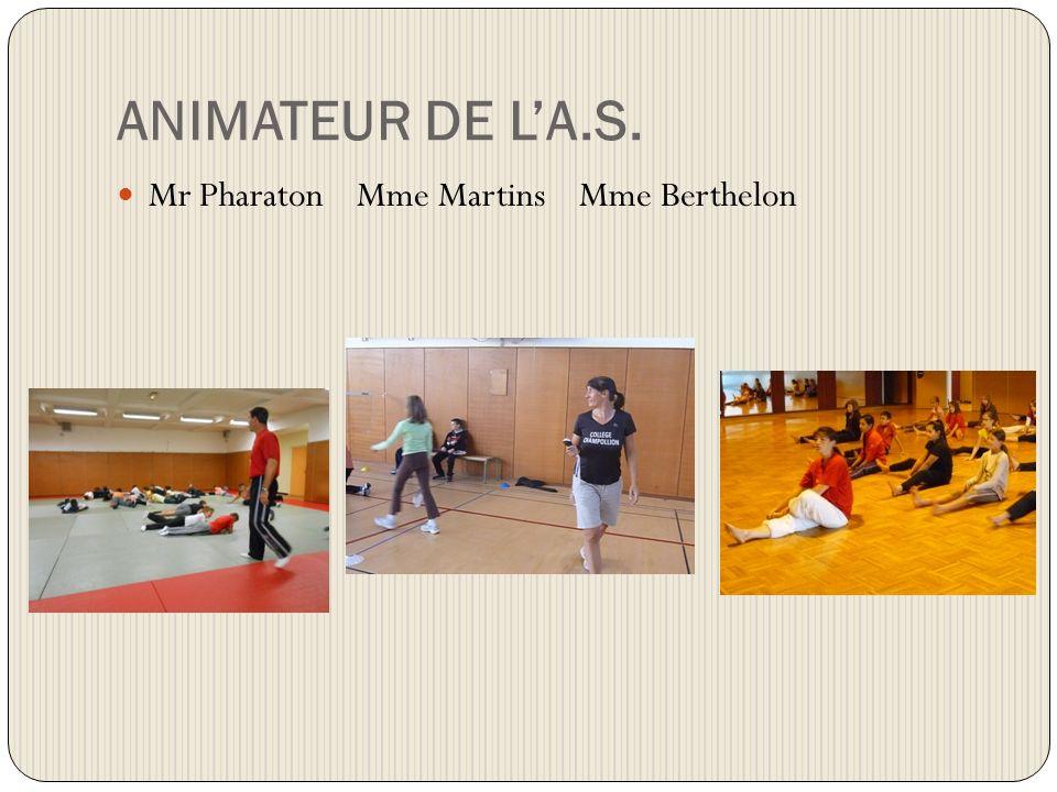 ANIMATEUR DE LA.S. Mr Pharaton Mme Martins Mme Berthelon