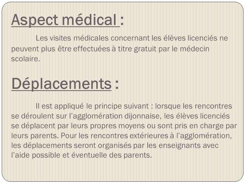 Aspect médical : Les visites médicales concernant les élèves licenciés ne peuvent plus être effectuées à titre gratuit par le médecin scolaire. Déplac