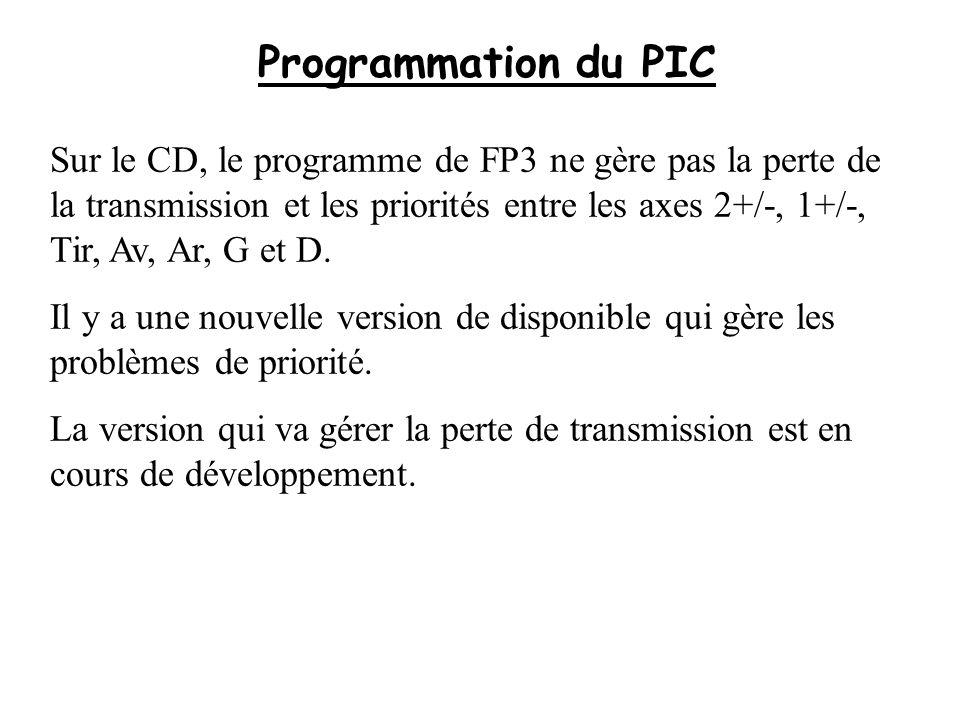 Programmation du PIC Sur le CD, le programme de FP3 ne gère pas la perte de la transmission et les priorités entre les axes 2+/-, 1+/-, Tir, Av, Ar, G
