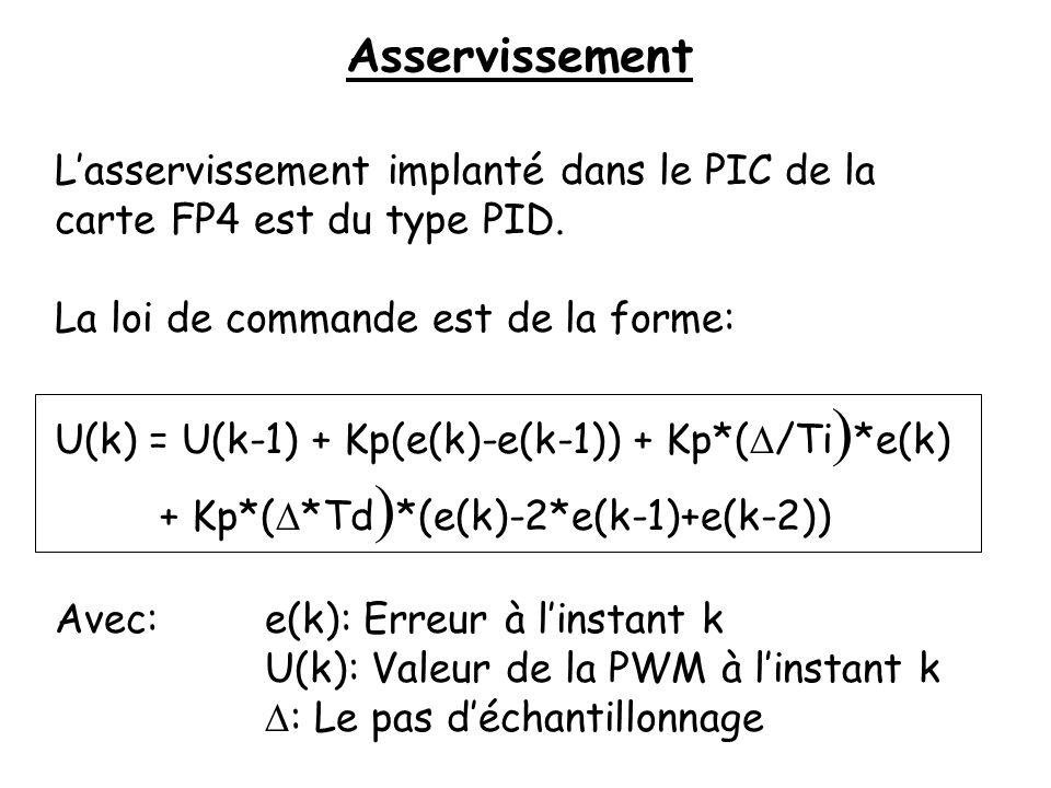 Asservissement Lasservissement implanté dans le PIC de la carte FP4 est du type PID. La loi de commande est de la forme: U(k) = U(k-1) + Kp(e(k)-e(k-1