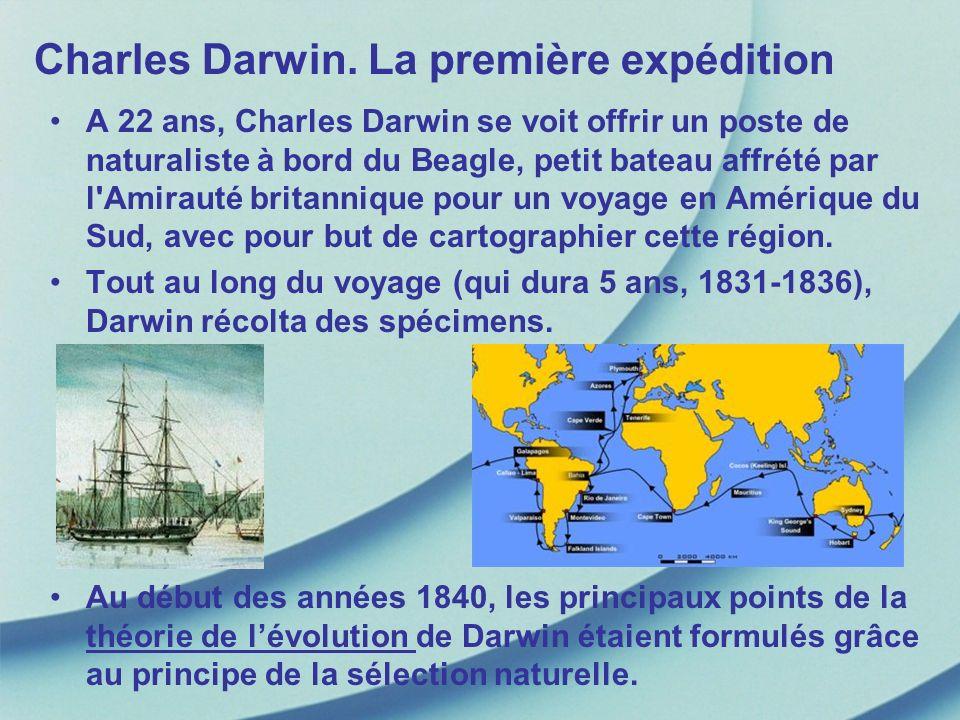 Charles Darwin. La première expédition A 22 ans, Charles Darwin se voit offrir un poste de naturaliste à bord du Beagle, petit bateau affrété par l'Am