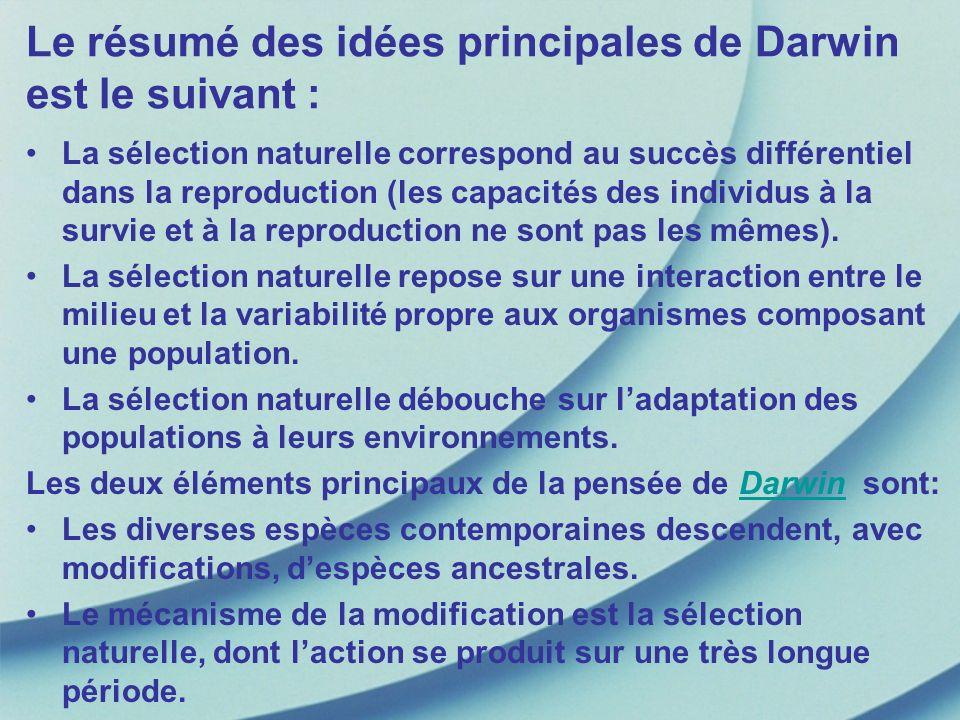 Le résumé des idées principales de Darwin est le suivant : La sélection naturelle correspond au succès différentiel dans la reproduction (les capacité