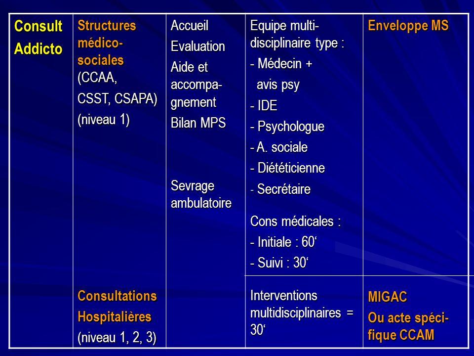 ConsultAddicto Structures médico- sociales (CCAA, CSST, CSAPA) (niveau 1) ConsultationsHospitalières (niveau 1, 2, 3) AccueilEvaluation Aide et accomp