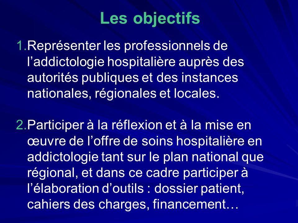 Les objectifs 1.Représenter les professionnels de laddictologie hospitalière auprès des autorités publiques et des instances nationales, régionales et