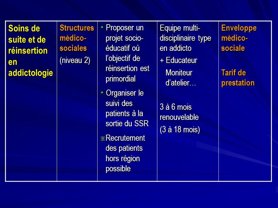 Soins de suite et de réinsertion en addictologie Structures médico- sociales (niveau 2) Proposer un projet socio- éducatif où lobjectif de réinsertion