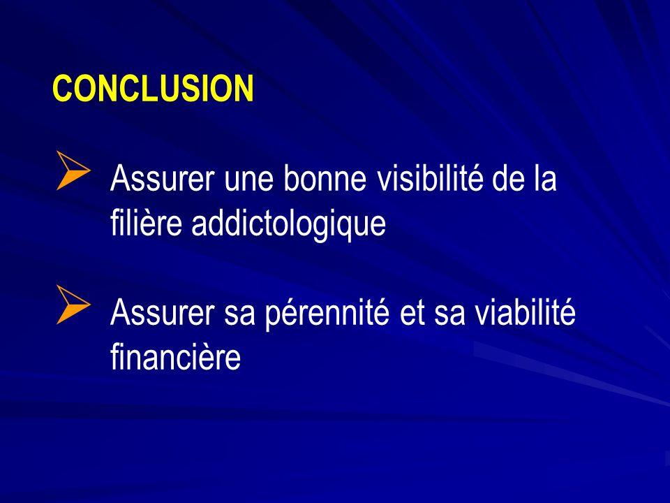 CONCLUSION Assurer une bonne visibilité de la filière addictologique Assurer sa pérennité et sa viabilité financière