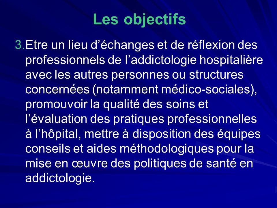 Les objectifs 3.Etre un lieu déchanges et de réflexion des professionnels de laddictologie hospitalière avec les autres personnes ou structures concer