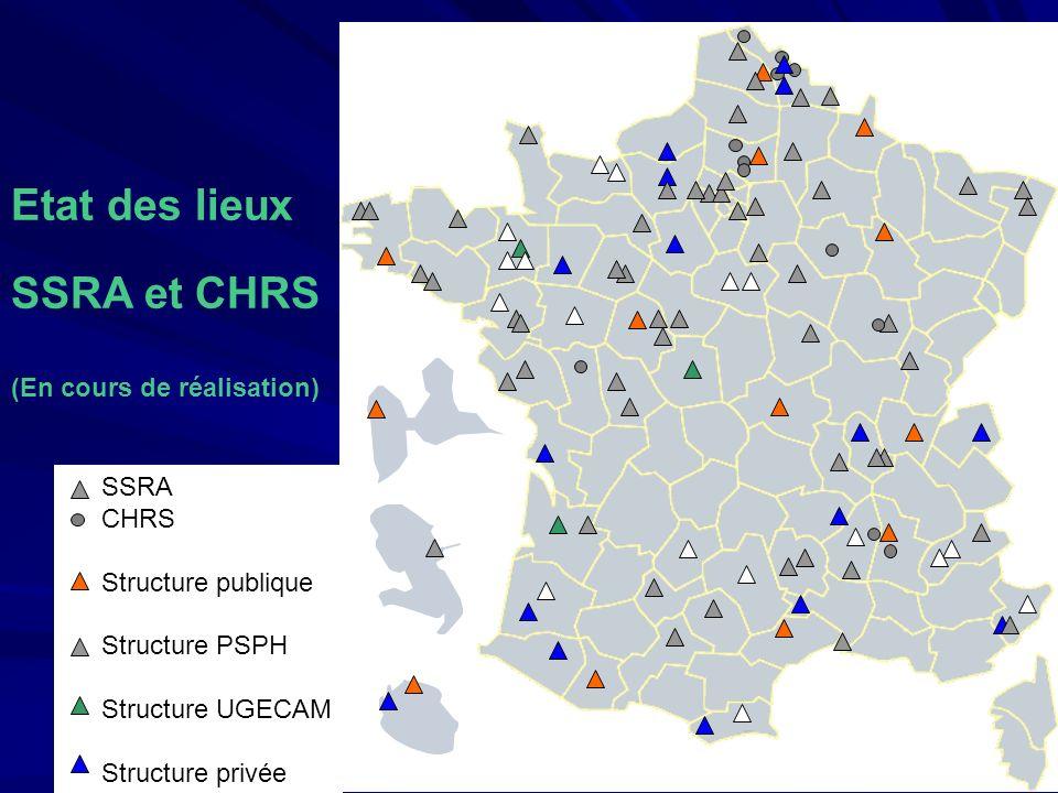 SSRA CHRS Structure publique Structure PSPH Structure UGECAM Structure privée Etat des lieux SSRA et CHRS (En cours de réalisation)
