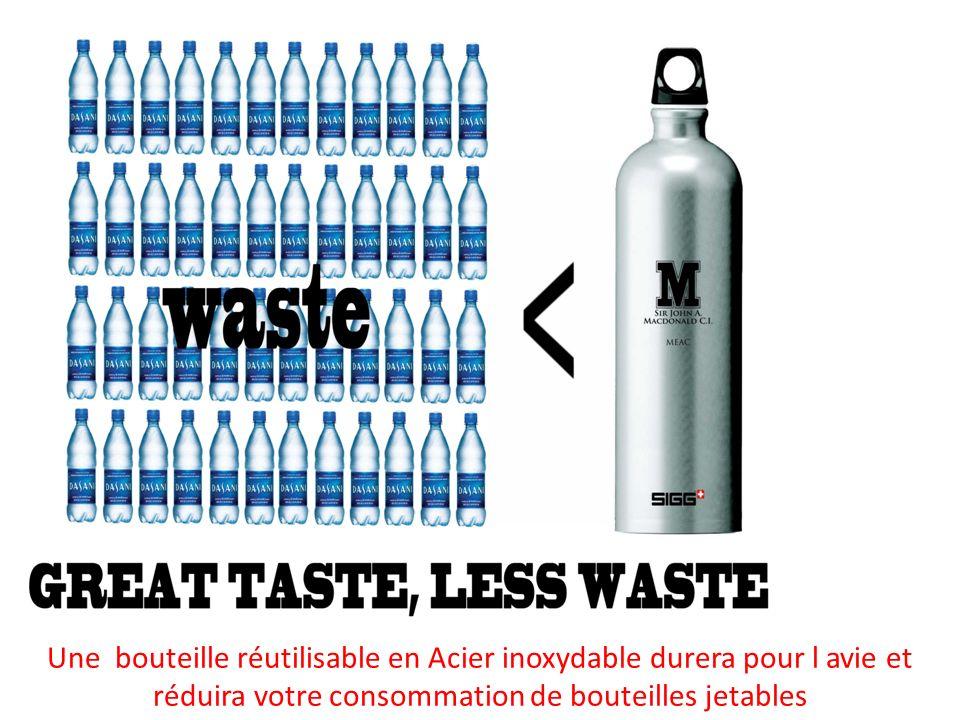 Une bouteille réutilisable en Acier inoxydable durera pour l avie et réduira votre consommation de bouteilles jetables