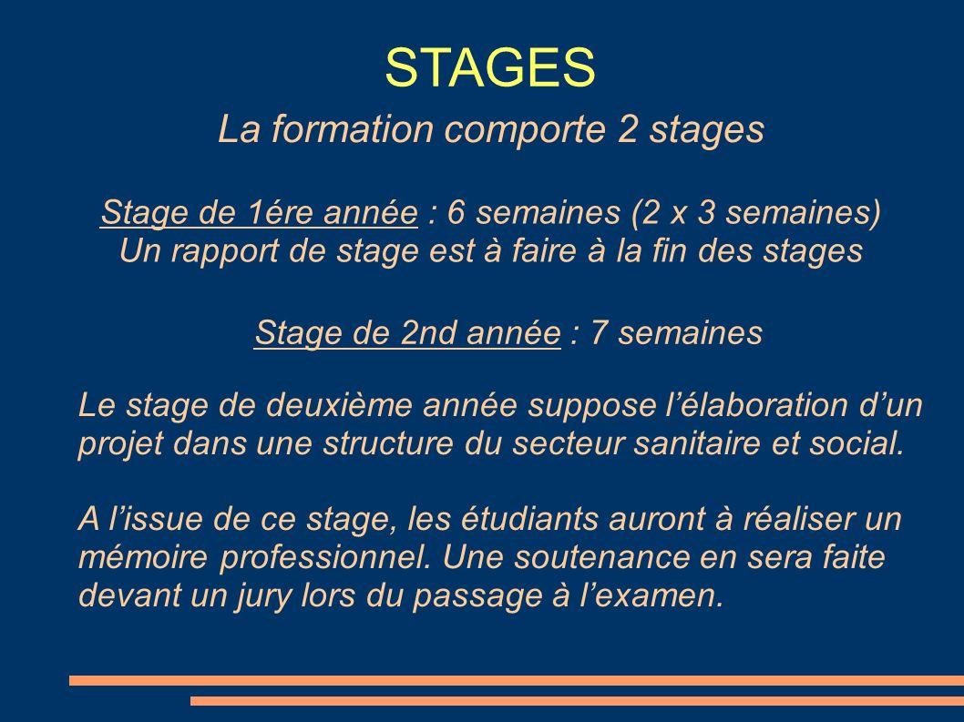STAGES Stage de 2nd année : 7 semaines La formation comporte 2 stages Stage de 1ére année : 6 semaines (2 x 3 semaines) Un rapport de stage est à fair