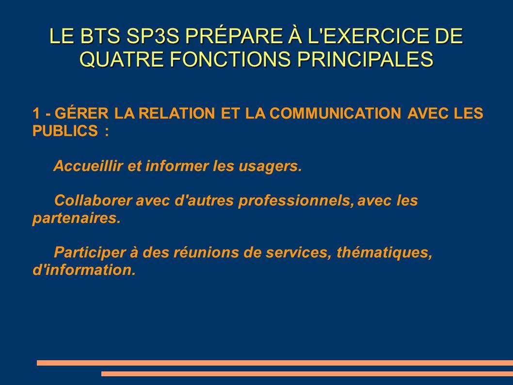 LE BTS SP3S PRÉPARE À L'EXERCICE DE QUATRE FONCTIONS PRINCIPALES 1 - GÉRER LA RELATION ET LA COMMUNICATION AVEC LES PUBLICS : Accueillir et informer l